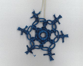 Handmade blue craft cord macrame snowflake by TwistedandKnottyUS