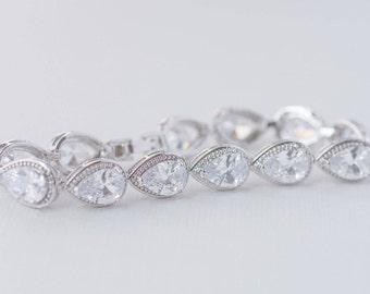 Teardrop Cubic Zirconia Bracelet, CZ Bridal Bracelet, AAA Cubic Zirconia Wedding Bracelet, Art Deco Bracelet, Rodium and CZ Bracelet
