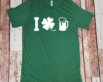 I Love Beer St Patrick's Day Drinking Shirt - Funny St Patty's Day Funny Drinking Shirt