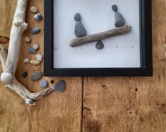 Handmade Pebble and Driftwood See-Saw