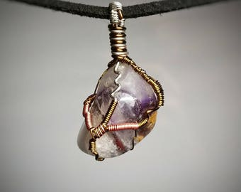 Amethyst Soul Pendant - Wire Wrapped Crystal Jewelry - Purple and Clear Quartz with Yellow - Raw Earthy Healing Stone - Handmade Necklace