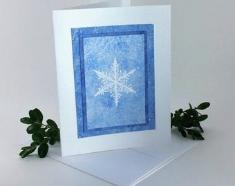 Snowflake blues embossed blank card, individually handmade on hand-painted papers: A2, let it snow, winter, SKU BLA21027