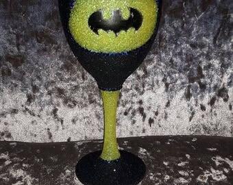 batman themed glitter glass