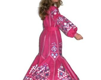 Long embroidered Dress Ukrainian Embroidery Vyshyvanka Dresses Vishivanka Pink Linen Bohemian Custom Boho Clothing Abaya Dubai Long sleeve