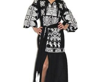 Vyshyvanka Dress Ukrainian Dresses Kaftan Caftan Abaya Open Dress Long embroidered boho Fashion Custom Embroidery Bohemian Vishivanka