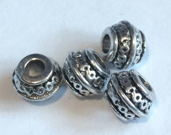 Antique Silver Barrel spacer beads, size 9x7mm  DIY Jewelry Making Supplies  Findings