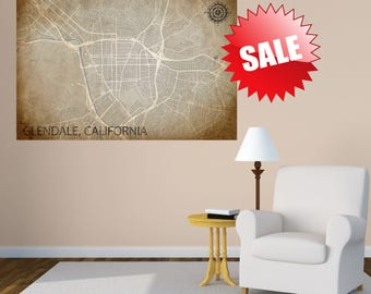 Glendale California CA USA Map Print Poster Wall Art City Street Map Print Nursery Canvas Wall Office Decor Vintage Look Map Large Map Art