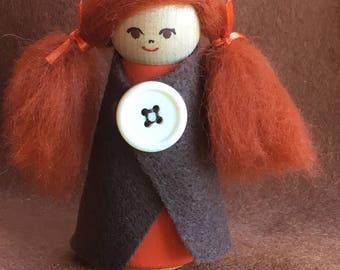 Peg-doll, handmade doll, minuture doll, wooden doll