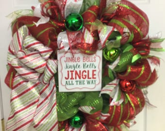 Christmas wreath, red and green Christmas door wreath, deco mesh Christmas wreath, Christmas decor, Whimsical Christmas wreath