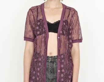 VINTAGE Purple LAURA KENT Floral See Through Short Sleeve Retro Blouse