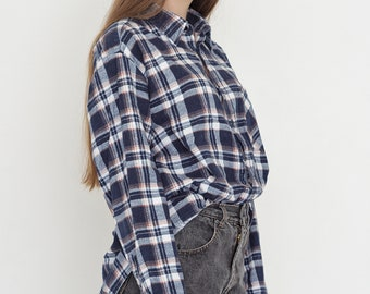 VINTAGE Blue White Checked Long Sleeve Retro Shirt