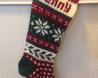 Personalized Hand Knit Poinsettia Stocking