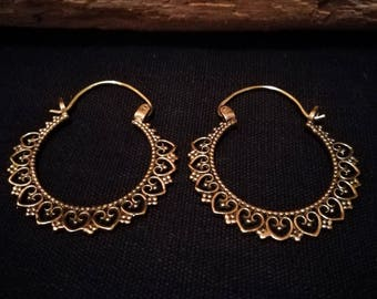 heart mandala brass hoop earrings