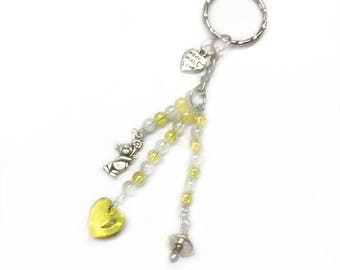 gender neutral baby gift, yellow baby shower, gender neutral gift, yellow keyring, baby keyring, gender neutral favor, beaded keyring, new