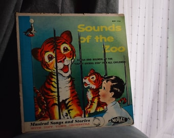 RARE Vintage Children's Sounds of the Zoo, Tiny Town Orchestra with Moppet Records
