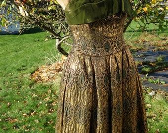 Beautiful 1950s gold brocade dress