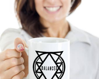 Balanced Geometric Coffee Mug, Yoga Gift Mug, Zen, Meditation, Coffee or Tea Mug