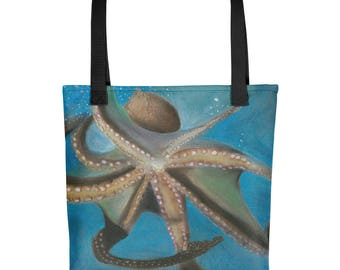 Giant Octopus - Amazingly beautiful full color tote bag with black handle featuring children's donated artwork.
