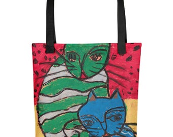 Two Crazy Cats - Amazingly beautiful full color tote bag with black handle featuring children's donated artwork.