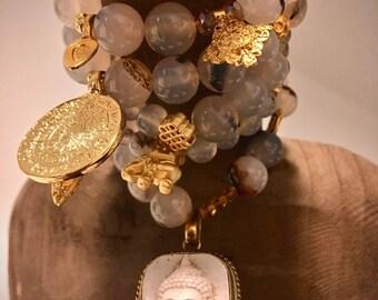 Noble Bracelets Set-natural agate-Gilded pendants/charms-100% handmade
