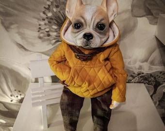 OOAK handmade art doll, Interior doll, dog doll Bulldog. Interior toy. Textile and Livingdoll sculpture.