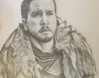 Portrait of Jon Snow, Game of Thrones 11x14 inches, graphite on paper