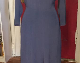 Periwinkle Crepe 1930s Desk Dress