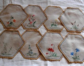Embroidered linen tea napkins