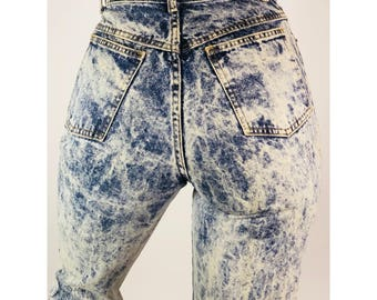 RARE Vintage Jack Mulqueen Acid Wash Denim Jeans, 80s, 90s, Distressed, High Rise, Cropped, Waist : 25""