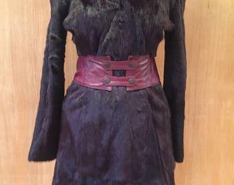 Vintage Versace fur coat vintage with scalloped detail