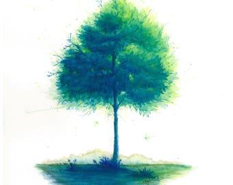 Happy Little Green Tree. 8x10. Watercolor Print.
