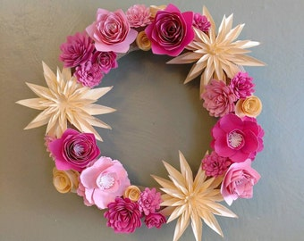 """12"""" Spring Wreath with Paper Flowers"""