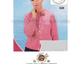 "Ladies 1970s, round neck, cable, raglan sleeve cardigan 34"" - 40"" chest - Vintage PDF knitting Pattern 520"