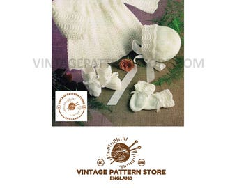"""Babies, scallop lace matinee coat with matching bonnet bootees and mittens 18"""" - 19"""" chest - Vintage PDF Knitting Pattern 577"""