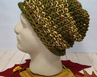 Hand Knit Hat or Slouchy- Camo