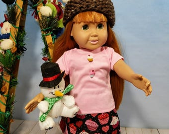 18 Inch Doll Clothes-Cupcake Design, Skirt, Shirt and Knit Hat