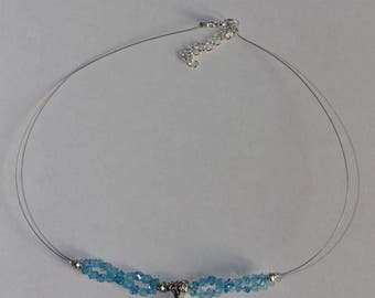 Crystal Necklace is light blue Swarovski style baroque and adjustable 925 sterling silver bail