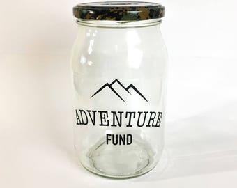 Money jar etsy for Travel fund piggy bank