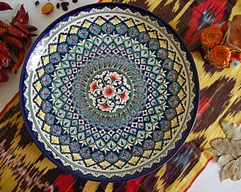 uzbek decorative ceramic vintage style handmade painted plate diameter: 31 sm (12.20 in) 0009