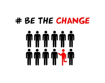 Be The Change (T-shirt Design, Shirt, Funny, Empowerment, World, Women, Ladies, Mug) SVG PNG Download