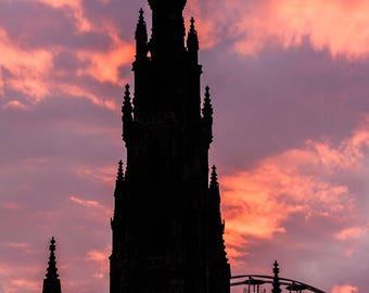 Scott Monument at sunset