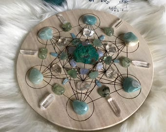 20cm Calm,Confidence and Clear Communication Complete Set of Crystal Grid