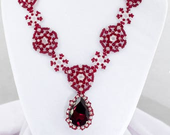 Swarovski Red and Clear extravagant bicone beaded pendant with beaded necklace