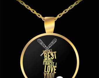 WORLD'S BEST Baseball Fiancee! Gold Plated Necklace