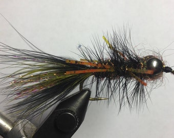 Sparkle Blk RL Lead Eye Woolly Bugger