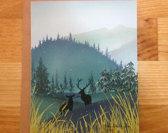 Winter Deer Silhouette Holiday / Greeting Card