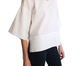 Womens white 100% cotton blouse / T-shirt with wide sleeves