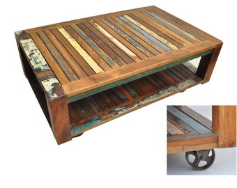 MADE TO ORDER Nirvana coffee table rectangle reclaimed timber solid wood lounge table boat wood recycled wood coffee table on wheels castors