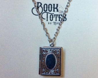 Silver Tone Book Pendant Necklace - Steampunk Locket - Book Lovers Necklace - Literary Library Necklace - Reader Gift - Cable Chain 20""