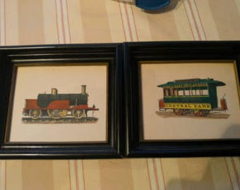 Vintage Lithograph Drawings of NY Central Park Trains